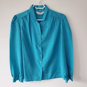 Blue Button Down Blouse Long Sleeves & Polka Dots